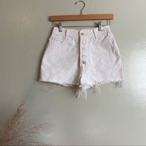 White Vintage Bongo High Waisted Shorts